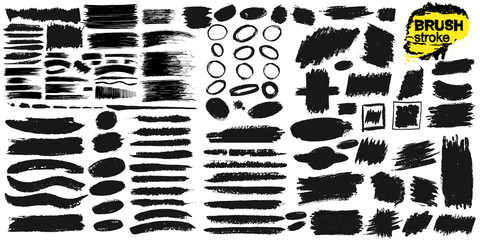 Set of brush strokes text boxes. Paintbrush grunge design elements. Freehand drawing. Painted objects. Dirty texture banners. Ink splatters. Vector illustration. Isolated on white background