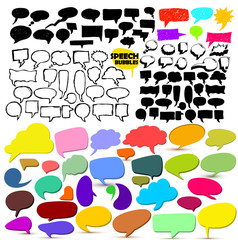 Set of colorful comic speech bubble and dialogue. Sketchy hand drawn. Vector illustration. Isolated on white background