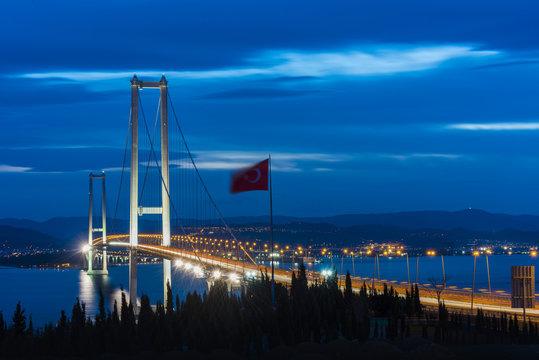 Osman Gazi Bridge (Izmit Bay Bridge). IZMIT, KOCAELI, TURKEY. Longest bridge in Turkey and the fourth-longest suspension bridge in the world by the length of its central span..