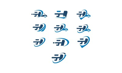 h pin fast emblem symbol icon vector logo