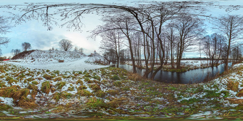 3D spherical panorama with 360 viewing angle.  Ready for virtual reality or VR. Full equirectangular projection. Winter landscape with snow. Cold blue sunset on the river under ice.