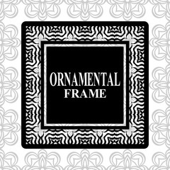 Vintage frame with retro ornamental pattern. Vector illustration