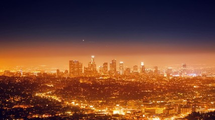 Fototapete - Cinemagraph - City Los Angeles night cityscape view downtown 4K UHD Motion Photo
