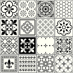 Portuguese tiles pattern, Lisbon seamless black and white tiles, Azulejos vintage geometric ceramic design