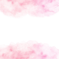 Hand painted pink watercolor border texture isolated on the white background. Usable for cards, invitations and more.
