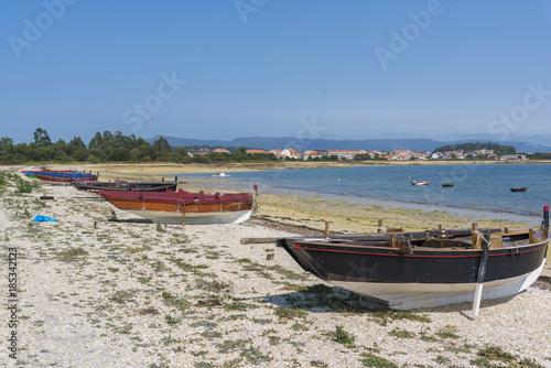 Barcas En La Costa De A Illa Arousa Pontevedra Espaa