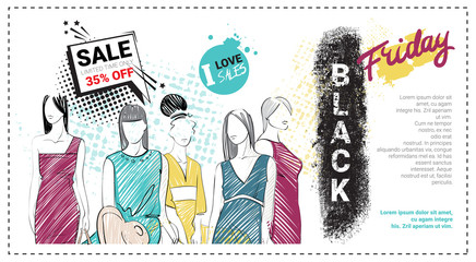 Black Friday Sale Template Brochure With Hand Drawn Fashion Models And Copy Space, New Collection Of Clothes Discounts Concept, Shopping Poster Vector Illustration