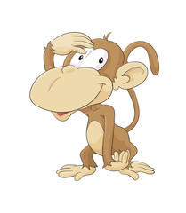 Cute sitting cartoon monkey, monkey, cute, animal, cartoon, illustration, baby