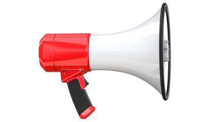 3d rendering of megaphone, isolated on white background. 3D illustration of bullhorn -Clipping Path.