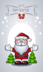 Vector cartoon character of Santa Claus as Christmas greeting card with congratulations. New Year message banner.