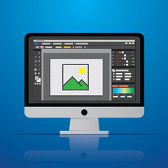 graphic photo picture editor software icon on desktop computer in vector flat design style