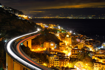 Night city, the Letojanni town by night, Italy, sicilia