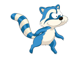 Cute blue standing cartoon raccoon, raccoon, cute, animal, cartoon, illustration, baby