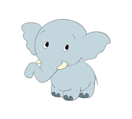 Cute blue standing cartoon elephant, elephant, cute, animal, cartoon, illustration, baby