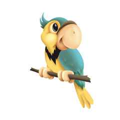 Cute colorful 3D cartoon parrot sitting on a branch, parrot, cute, animal, cartoon, 3D, baby