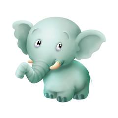 Cute standing 3D cartoon elephant, elephant, cute, animal, cartoon, 3D, baby
