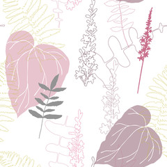 Floral botanical vector seamless pattern with hand drawn agrimony herb flowers  and tropical  leaves in pastel colors.