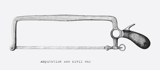 Amputation saw civil war hand drawing vintage style isolate on white background