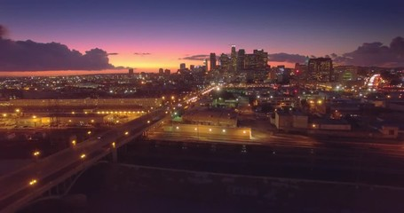Fototapete - Aerial view downtown city Los Angeles, scenic sunset Camera slowly descending 4K