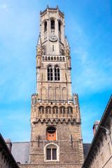 Bruges Belfry Tower, called the Belfort. Medieval bell tower in the historical centre of Bruges, Belgium