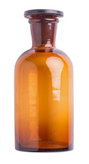 Old brown small chemical bottle isolated on white background
