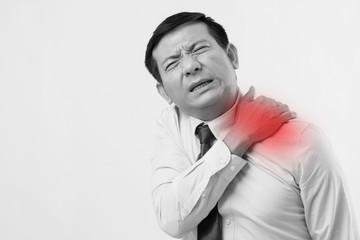 asian business man suffering from neck pain, arthritis, gout symptoms