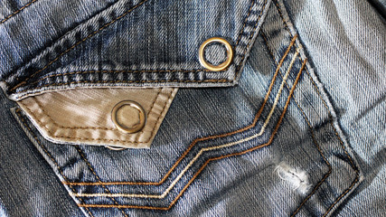 Texture of vintage blue jeans background, ripped jeans.
