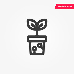 Plant in the pot icon. Seedling icon vector.
