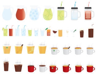 set of cold and hot drinks icons