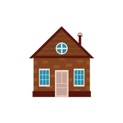 vector flat private wooden house with door, windows icon. Symbols of house rent, sale, real estate and insurance. Isolated illustration on a white background.
