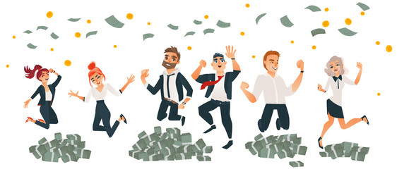 Happy people, men and women, celebrating business success, jumping under money rain, flat cartoon vector illustration isolated on white background. Set of business men and women jumping in money