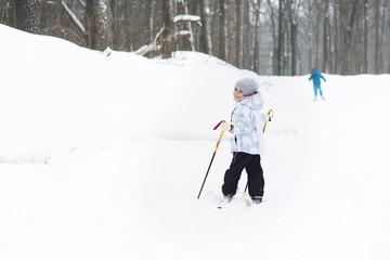 Child cross-country skiing