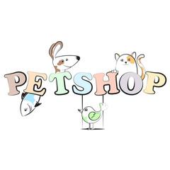 Pet shop cheerful illustration