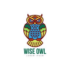 wise hand drawn colored sitting wise owl closeup front view. brand logo stylized design silhouette pictogram. Line icon bird isolated illustration on a white background.
