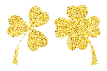 Gold glitter clover leaves