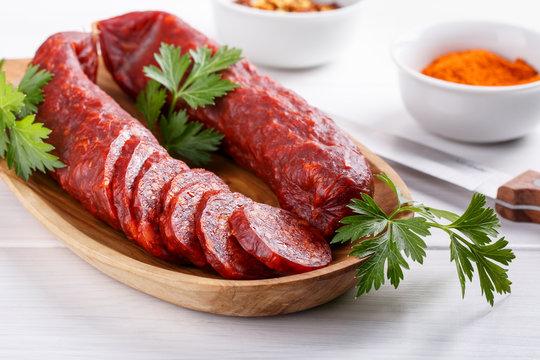 Traditional Hungarian paprika sausage