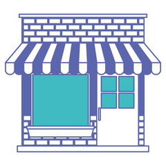 store facade with sunshade in blue and purple color sections silhouette