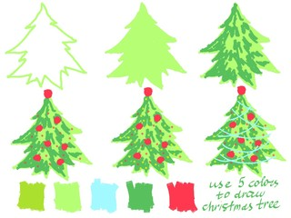 Drawing step by step Christmas tree