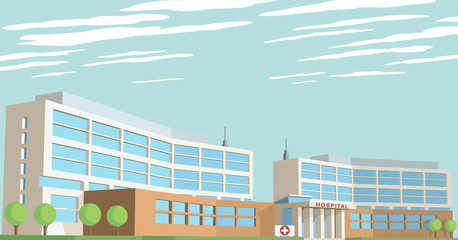 Vector illustration of hospital building exterior.