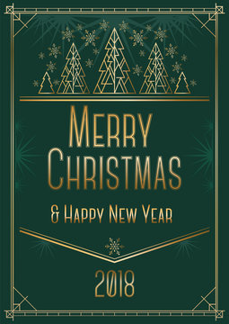 Christmas and New Year greeting card design in art deco style with stylized trees.