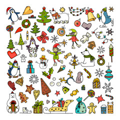 Set of colored doodles of merry christmas icons