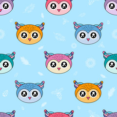 Cute kids owl pattern for girls and boys. Colorful owl on the abstract background create a fun cartoon drawing. The pattern is made in neon colors. Urban owl pattern for textile and fabric.
