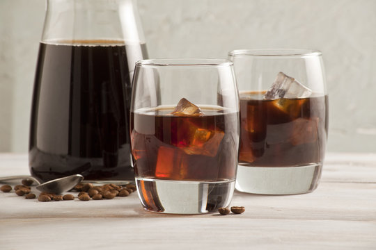 Cold brew coffee glasses and bottle.