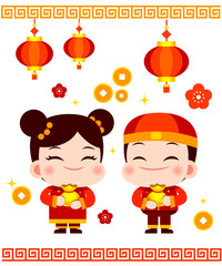 Cute Vector Chinese New Year Boy and Girl with Chinese New Year Items