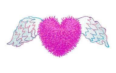 Colorful illustration of heart with wings