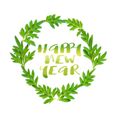 Happy New Year words and fresh green leaves in circle on white background