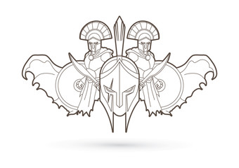 Roman or Greek Helmet , Spartan Helmet, and Angry Warrior composition outline graphic vector
