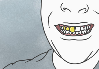 Cropped image of man with gold tooth against gray background