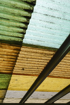 Low angle view of corrugated roof