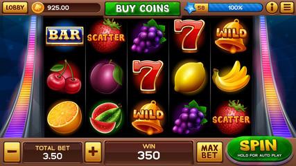 Main screen for slots game. Vector illustration